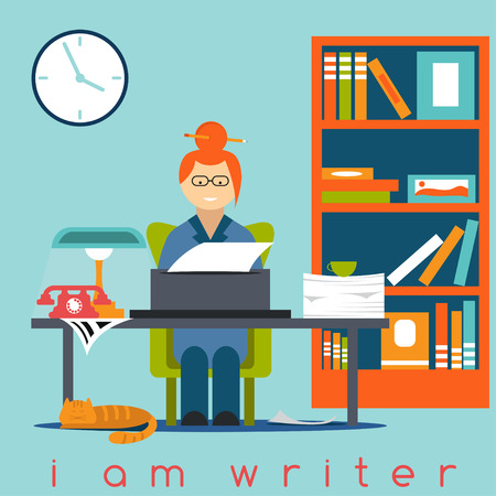 40286017 - freelancer writer girl flat design concept