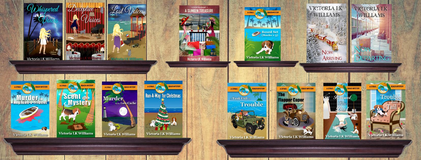 15 books on shelves